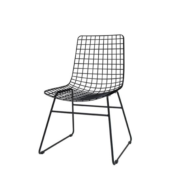 Metal Wire Dining Chair Without Arms   Black
