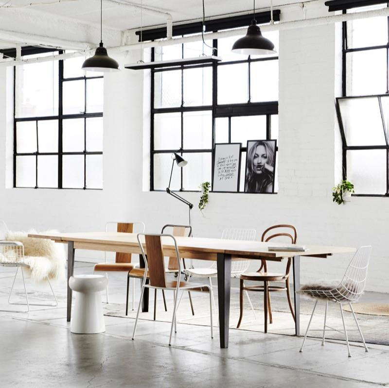 Industrial M Extension Dining Table - White