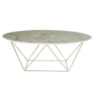 buy Como White Marble Coffee Table - Stainless Steel online