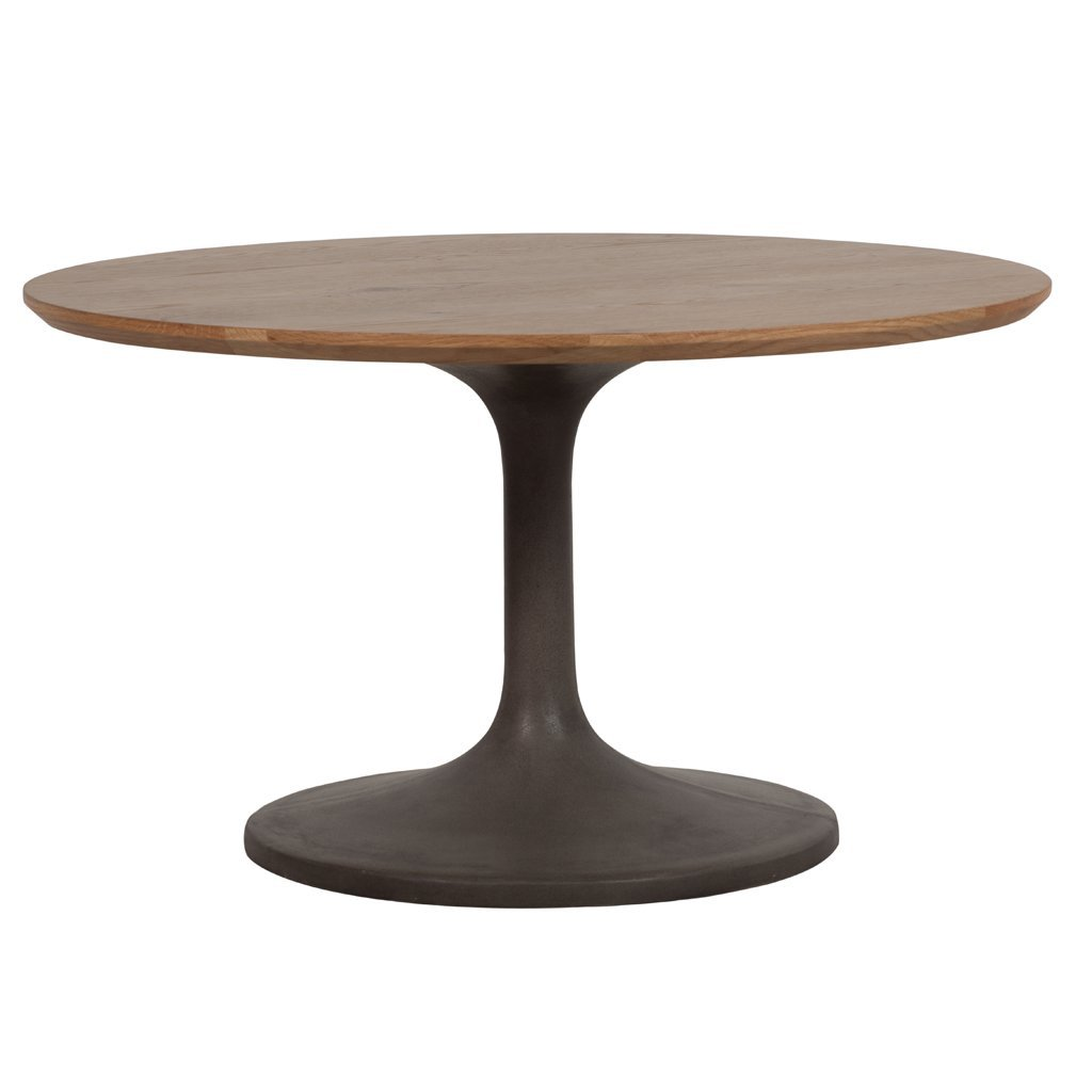 buy Round Concrete and Oak Dining Table online