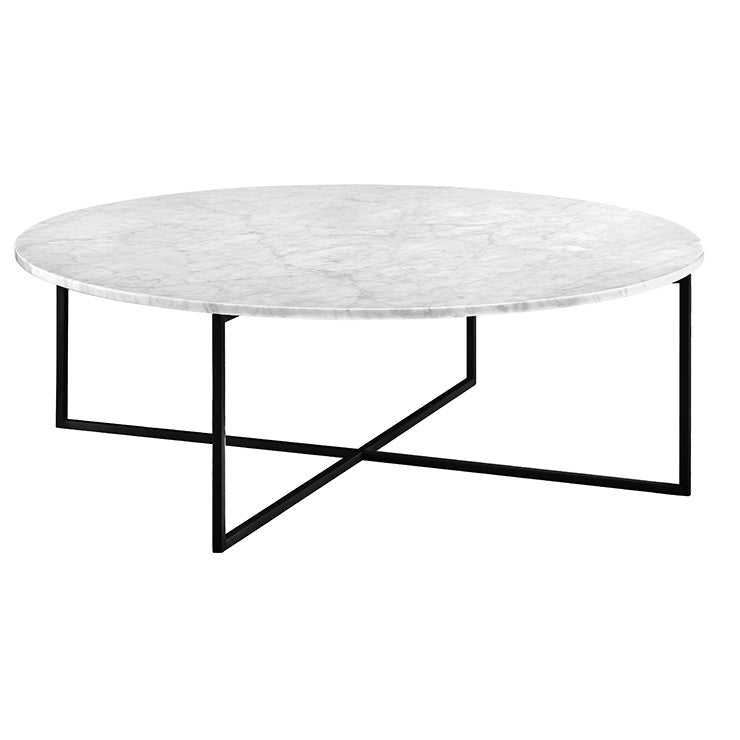 Elle Luxe Marble Round Coffee Table in Matt White and Black