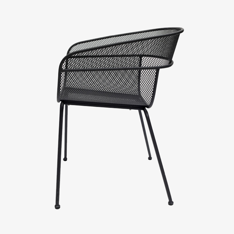 Scoop Outdoor Dining Chair in Black