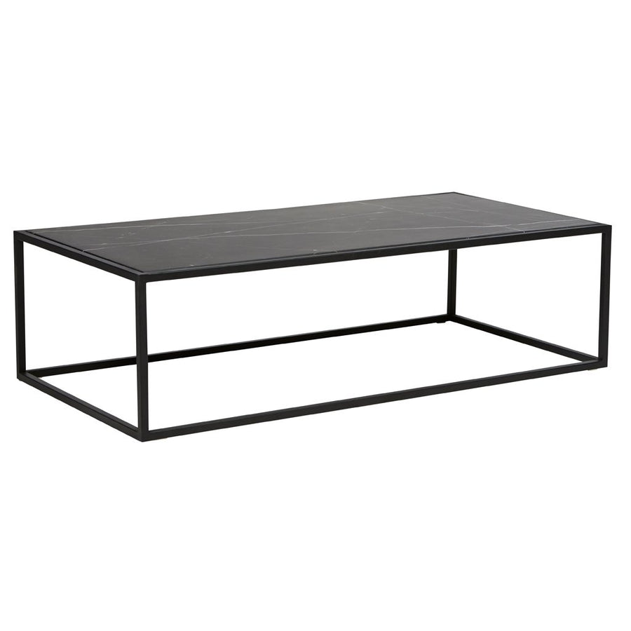 Elle Cube Marble Coffee Table - Matt Black Marble & Black