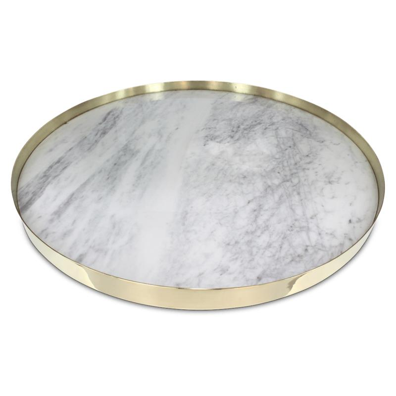 Orbit Round Tray in White Marble - Extra Large