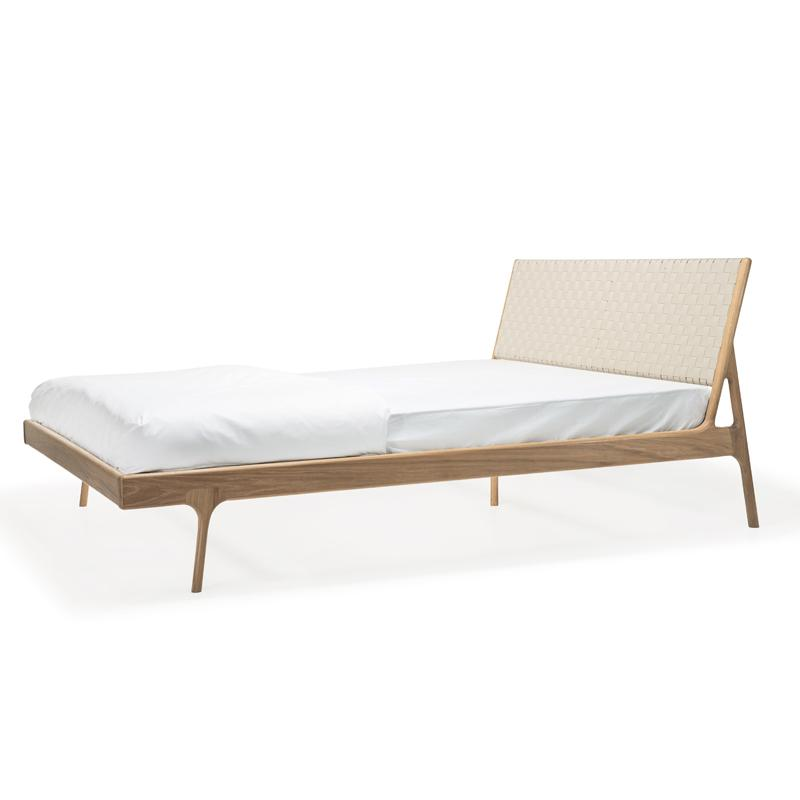 Fawn Oak Queen Bed - White Cotton
