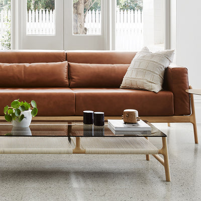 Fawn Sofa - Dakar Stone Leather