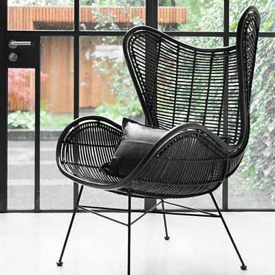 home collections black rattan egg chair