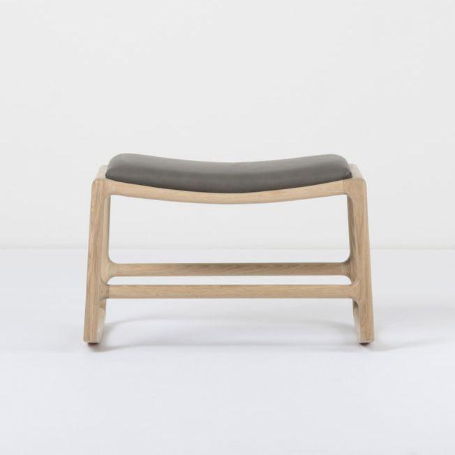 Dedo Footstool - Dakar Grey Leather