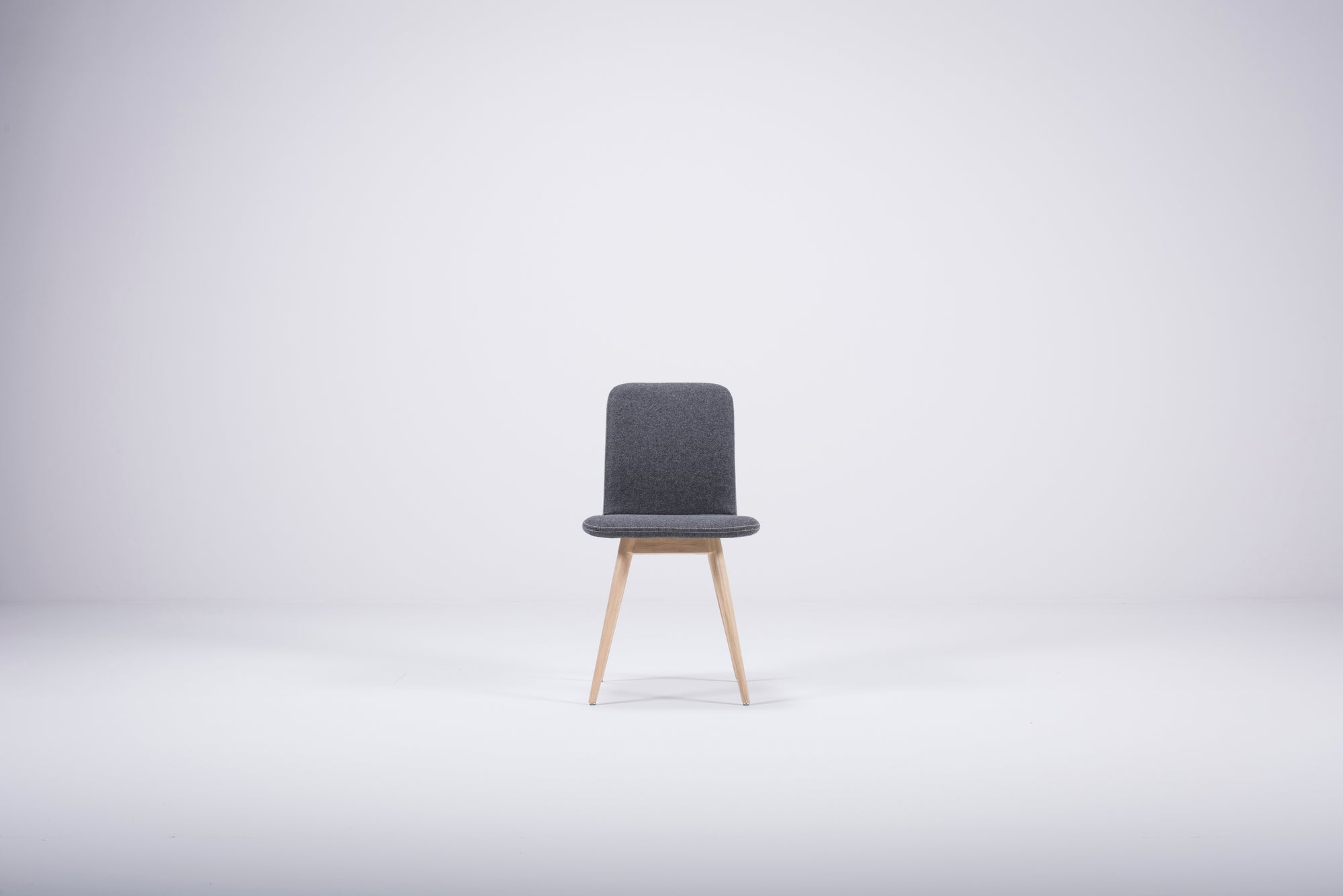 Ena Oak Dining Chair - Light Blue Felt
