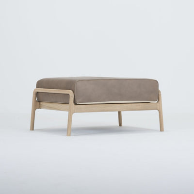 Fawn Oak Footstool - Dakar Stone Leather