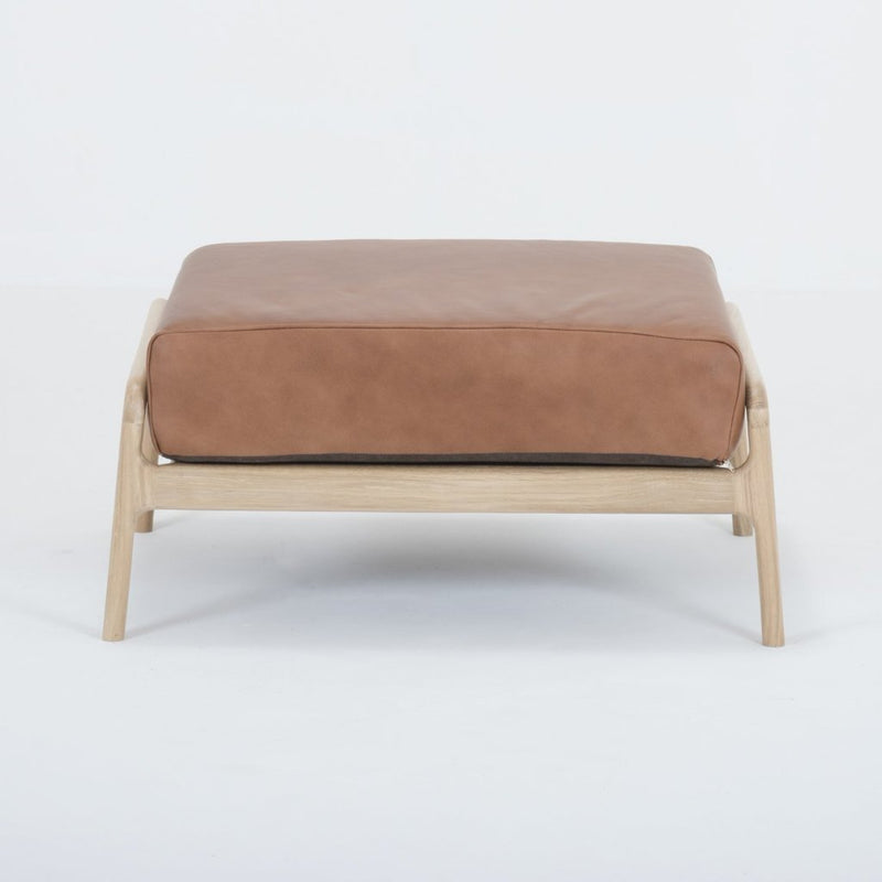 Fawn Oak Footstool - Dakar Whisky Leather