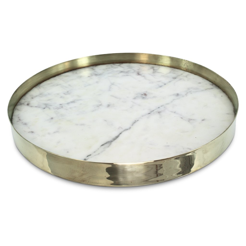 Orbit Round Tray in White Marble