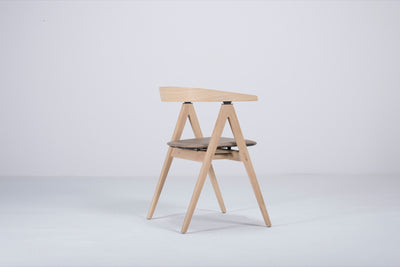 Ava Oak Chair - with Stone Dakar Leather