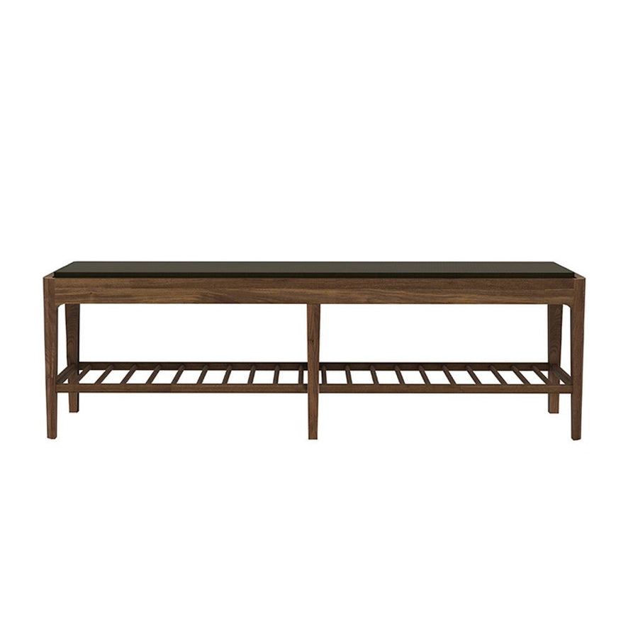 Ethnicraft Walnut Spindle Bench With Upholstery