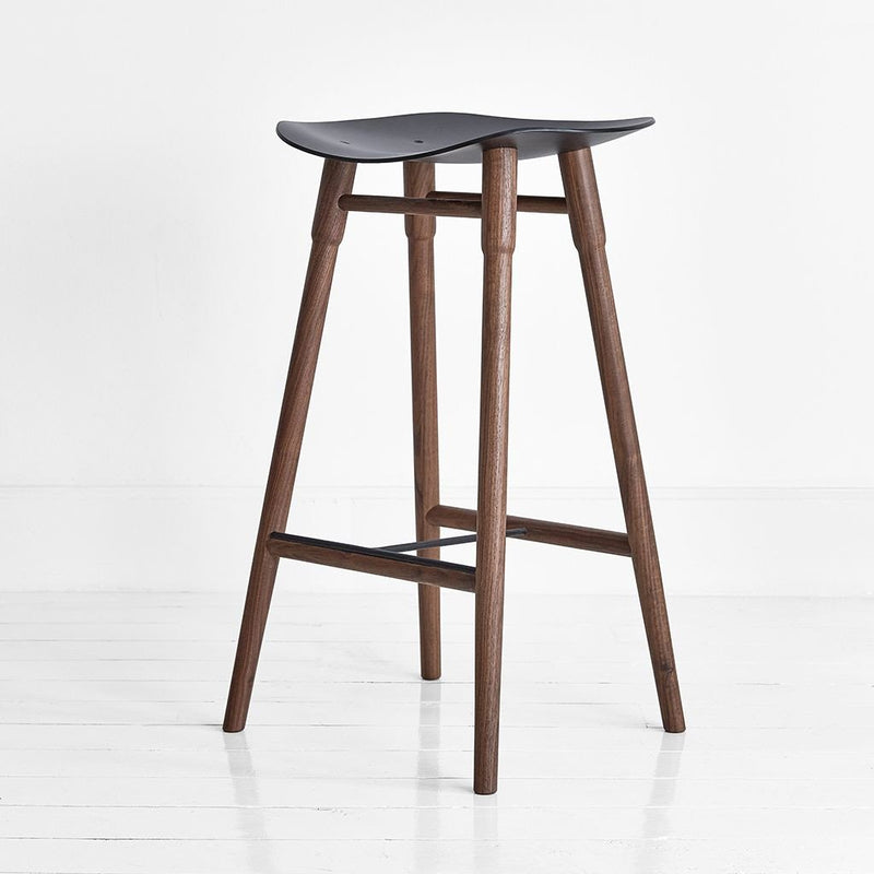 MR.FRAG Dowel Counter Stool - Walnut/Black Seat