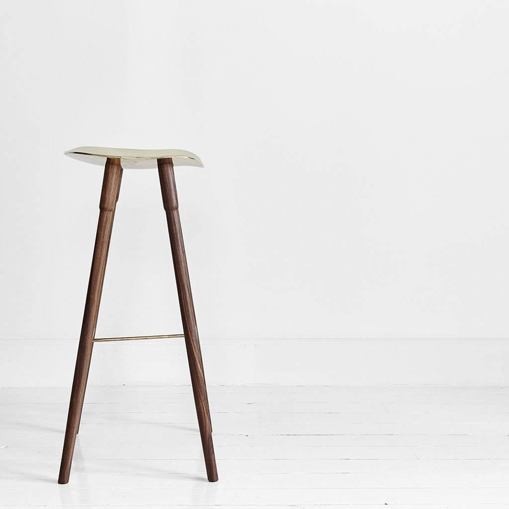buy MR.FRAG Dowel Bar Stool - Walnut/Brass Seat online