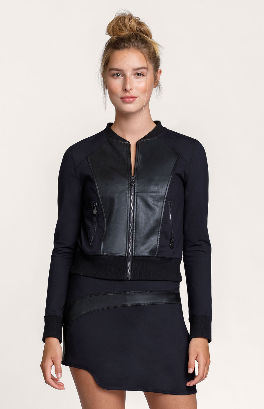 Amelia Faux Leather Onyx Bomber