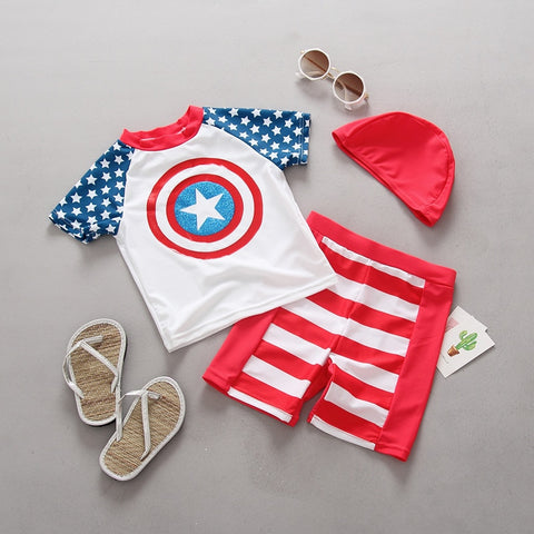 Baby Boy Swimwear 3 pieces Baby Swimsuits Boys U.S.A Captain