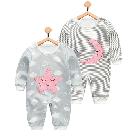 Newborn Spring Autumn Cotton Romper Cloth Boys and Girls Long Sleeved Jumpsuit