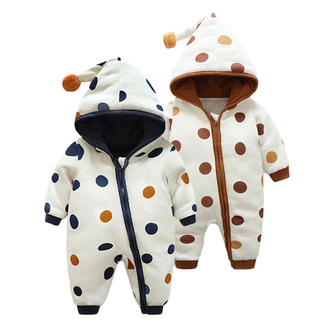 Baby Boys and Girls Warm Hoodie Long Sleeved Rompers