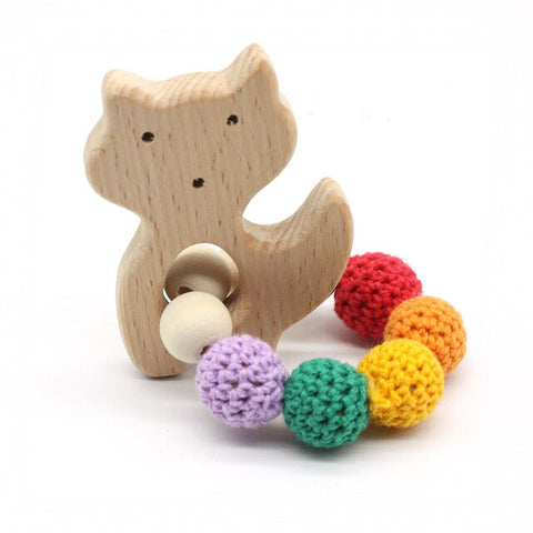 Baby Pacifier Clip Organic Wood Teether Bracelet