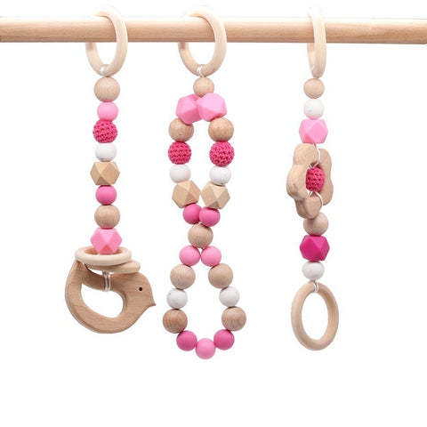 Wood Beads Teether 3pc Chew Silicone Beads Set