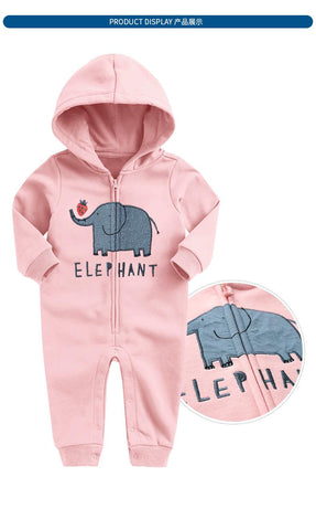 New Baby Baby Boys Girls Autumn Winter Velvet Long Sleeve Hoodie Jumpsuit
