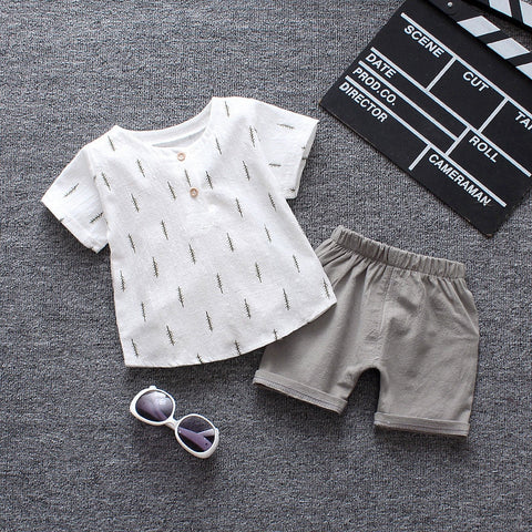 Baby Boys Clothing Sets Summer Newborn Baby Cotton Casual T-shirt+Short Pants 2pcs