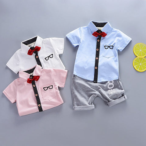 Baby Boys Summer Clothing Sets Newborn Baby Cotton Gentleman Shirt+Short Pants 2pcs