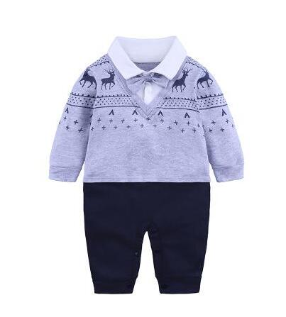 Cotton Baby Boys Rompers Clothes Newborn Baby Gentleman Jumpsuit Long Sleeve