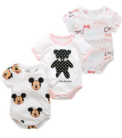 Summer and Spring Cotton Onesie Newborn Baby Girls and Boys / 3 pcs