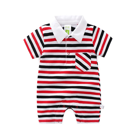 Baby Boy Summer Striped Short Sleeved Cotton Romper