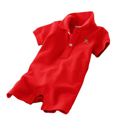 2019 Summer Polo Lapel Short Sleeved Boxer Romper Boys Jumpsuit Newborn Baby