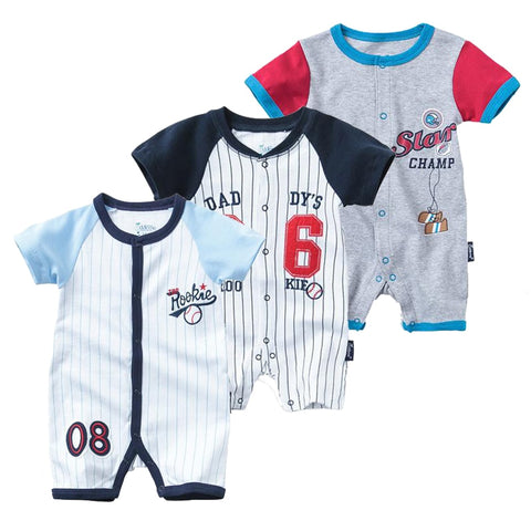 Summer Football Sport Baby Bodysuit Short Sleeved | Newborn Baby Boy Cotton Jumpsuit