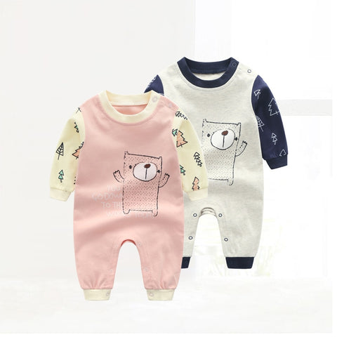 New Born Baby Long Sleeved Cartoon Rompers Baby Boys and Girls Spring Cotton Jumpsuit