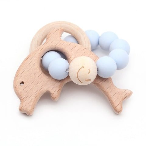 Organic Wood + Silicone Beads Teether Baby Bracelet Animal Shaped