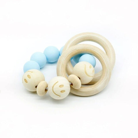 Organic Wood Teething Bracelet  (Fox, Hedgehog, Elephant, Dolphin) Silicone Beads Baby Rattle