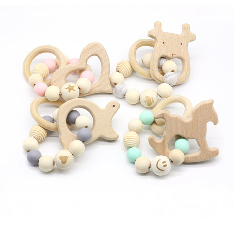 Funny Silicone Baby Wooden Pacifier Clips