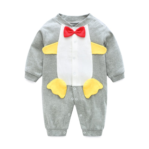 Spring Autumn Baby Long-Sleeved Conjoined Clothes 0-1Y Newborn Boys Girls Cotton Rompers
