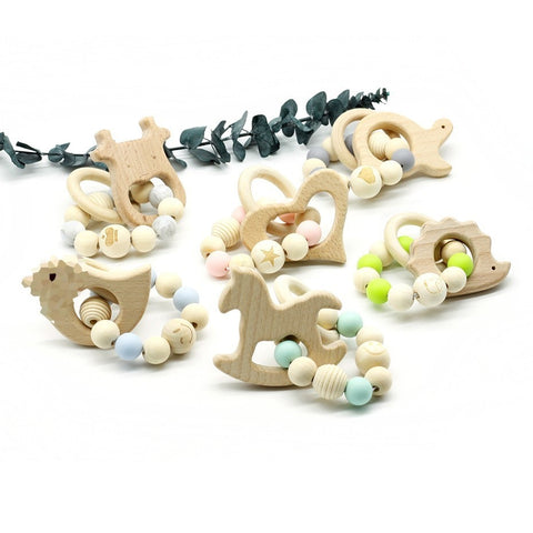 Organic Wood Baby Teether / Smooth Beech Wood Teether