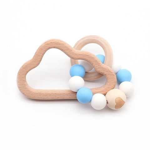 Baby Wooden Bracelet Teether Silicone Beads Rattles