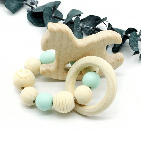 Organic Wood Baby Bracelet with Silicone Beads - Baby Rattle