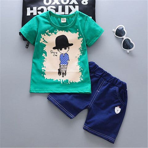 Baby Boys Summer Clothing Sets Toddler Casual T-shirt+Short Pants 2pcs