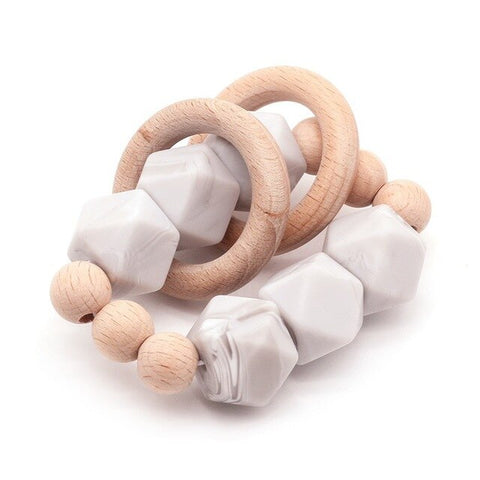 Baby Organic Wood Rattle Stroller Baby Bracelet Teething Baby Organic Wood Silicone Beads
