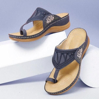 HBComfy™ Premium Flower Embroidered Orthopedic Wedge Sandals