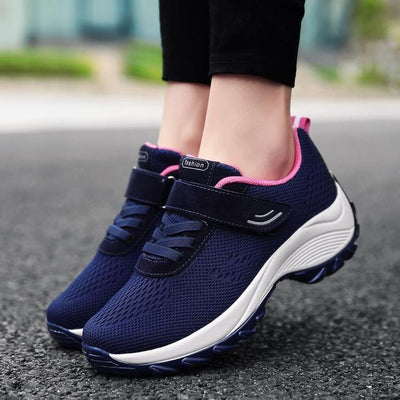 Women's Flying Woven Velcro Platform Casual Sport Shoes