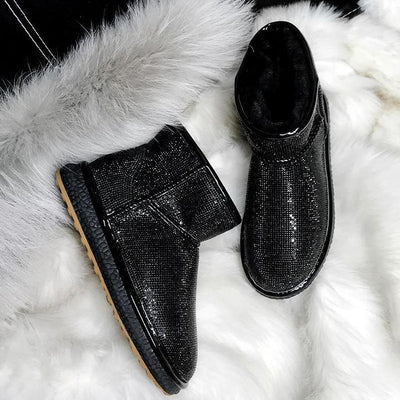 Yeshershop™ Winter Promotion™ Sheep Fur Rhinestone Full Diamond Waterproof Shoes Boots