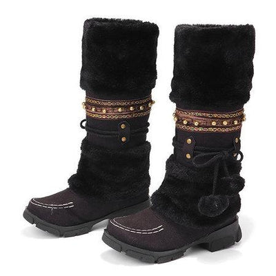 Women's Lace Wool Winter Warm Flat Knee High Boots Women's Ski Shoes