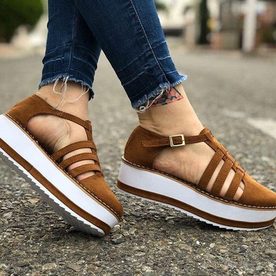 New Leather Fringed Platform Mary Jane Flat Sandals