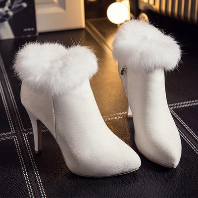 Suede Pointed Plush High Heel Boots